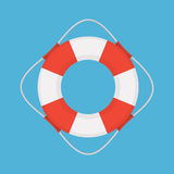 Lifebuoy Vector Flat Style Illustration. Vector flat style colored illustration of lifebuoy on blue background Stock Images