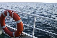 Lifebuoy on a walking yacht. Black Sea Royalty Free Stock Photo