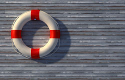 Lifebuoy on wall Stock Images