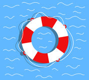 Lifebuoy on the water. Flat style vector illustration.  Stock Photography