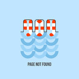 Lifebuoy in water looks like 404 error. Page is not found. Lifebuoy in water looks like 404 error. Creative flat vector website page template reports that the Stock Image