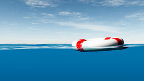 Lifebuoy on water. A side view with underwater and surface part Stock Photos