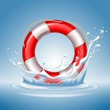 Lifebuoy. With water splash. High quality, realistic, detailed vector illustration Royalty Free Stock Images