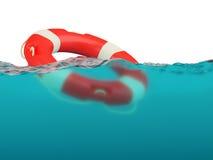 Lifebuoy on water surface Stock Photo