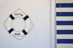 Lifebuoy with welcome aboard Stock Photography