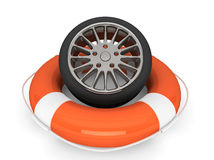 Lifebuoy with wheel tyre Royalty Free Stock Photos