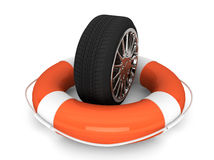 Lifebuoy with wheel tyre Stock Photo
