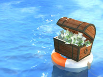 Lifebuoy and wooden box with money Royalty Free Stock Images