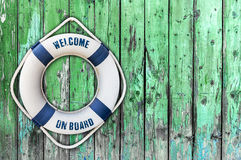 Lifebuoy on wooden floor. Close Stock Photography