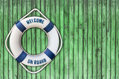 Lifebuoy on wooden floor. Close Stock Images
