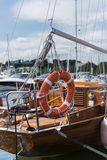 Lifebuoy on the wooden sailboat Stock Photography