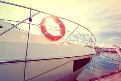 Lifebuoy on the yacht at summer day. Royalty Free Stock Images