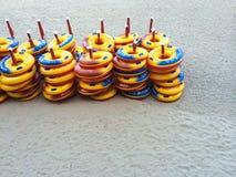 Lifebuoys на пляже Стоковое фото RF