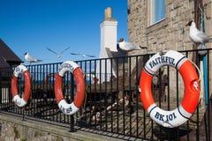 Lifebuoys старых рыбацких лодок Стоковое Фото