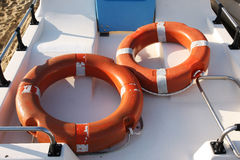 Lifebuoys in a boat. Two lifebuoys in a rescue boat on the beach Royalty Free Stock Photos