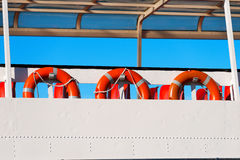 Lifebuoys in a Ferry Boat Royalty Free Stock Image