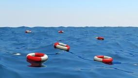 Lifebuoys floating on waves. 3d illustration Stock Photography