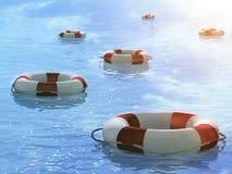 Lifebuoys, floating on waves. Six 3d lifebuoys, floating on waves Royalty Free Stock Photography