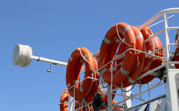 Lifebuoys (Lifesavers) in the passenger ship.  Royalty Free Stock Images