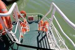 Lifebuoys (Lifesavers) in the passenger ship.  Stock Images