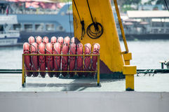 Lifebuoys Rowed Side by Side. On the Boat Royalty Free Stock Photos