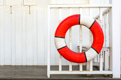 Lifebuoys on Wooden fence Royalty Free Stock Photo