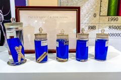 Life cycle of silk worm and larva, preserved in jars to display each instant or cycle stock photo