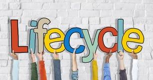 Lifecyclearmar lyftte färgrika mång- etniska Live Concept Royaltyfri Bild