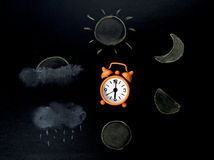 Lifecyecle do desenho do tempo pelo pastel na folha Fotografia de Stock