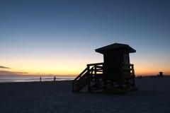 Lifegaurd station on Siesta Key, Florida at sunset Royalty Free Stock Image