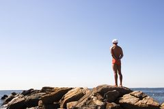 Lifeguard. On duty on the public beach stock photography