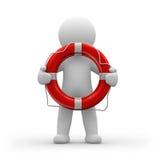 Lifeguard. 3d human life-guard with a life belt royalty free illustration