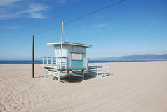 Lifeguard. Beach hut of lifeguard in Los Angeles stock images