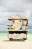 Lifeguard beach hut south beach miami Royalty Free Stock Images