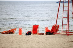 Lifeguard beach rescue equipment orange boat Stock Images