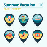 Lifeguard beach safety pin map icon set. Vacation Stock Photo