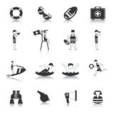 Lifeguard Black Icons Set. Lifeguard water rescue and safety accessories for swimmers and surfers black icons set abstract isolated vector illustration Stock Photo