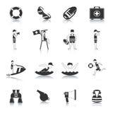 Lifeguard Black Icons Set Stock Photo