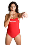 Lifeguard Blowing Whistle stock photography