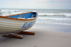 Lifeguard Boat at Atlantic City NJ 1. Lifeguard boat on the beach at Atlantic City New Jersey Royalty Free Stock Photo