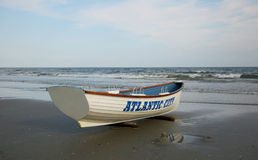 Lifeguard boat on the beach. Atlantic City, NJ Royalty Free Stock Photos