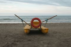 Lifeguard boat on the beach Royalty Free Stock Image