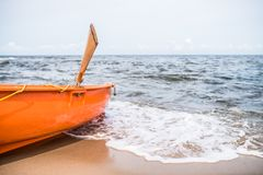 Lifeguard boat on the beach Stock Image