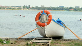 Lifeguard boat. Picture taken in Techirghiol, Eforie Nord Stock Image