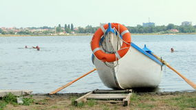 Lifeguard boat. Picture taken in Techirghiol, Eforie Nord Stock Photography