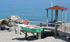 Lifeguard boat and station Royalty Free Stock Photography