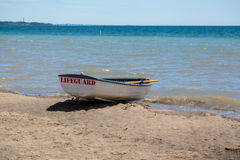 Lifeguard Boat on the Waterfront Stock Photos