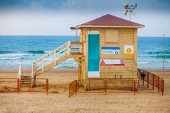 Lifeguard booth on the beach Stock Images