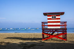 Lifeguard cabin on the beach. Puerto Lopez Stock Image