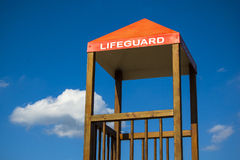 Lifeguard cabin on a beach stock image